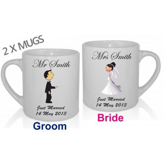 2 x Personalised Wedding Mugs